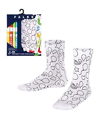 FALKE Kinder Socken Paint Set, Baumwollmischung, 1 Paar, Weiß (White 2000), Größe: 27-30
