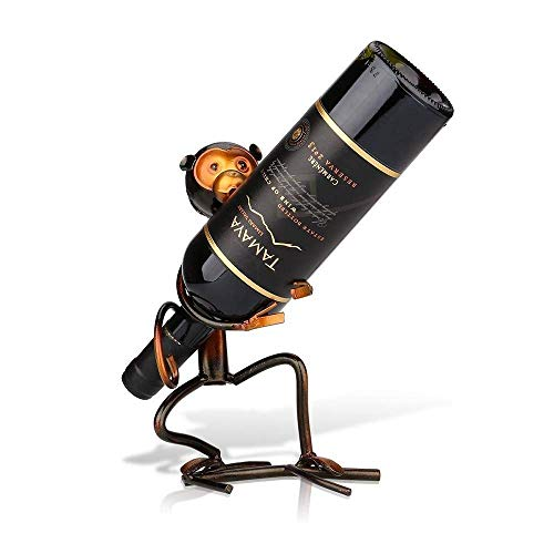 HXCD Soporte de Botella de Vino con Forma de Mono de Metal, Arte Creativo en Hierro, decoración del hogar, Manualidades prácticas para Soporte de Vino, Adecuado para Bares, cocinas, decoración de