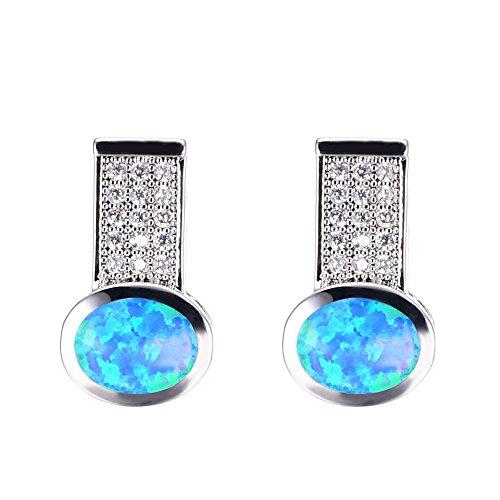 OMZBM Sterling Silber Blau Opal Ohrringe Einzigartige Glänzende Simulierte Diamant Ohrstecker Schmuck Mädchen Birthstone Geschenk