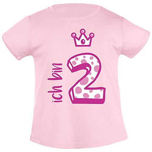 Shirtgeil Ich bin Zwei Krone 2 Geburtstag Mädchen T-Shirt 94 Rosa