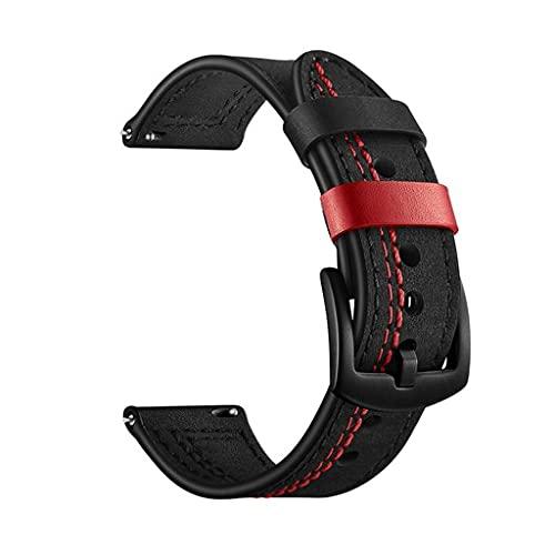 SSMDYLYM Reloj Band 22mm Reemplazo de Correa de Reloj de Cuero Genuino for Ver la Correa for Hombre (Color : Black)