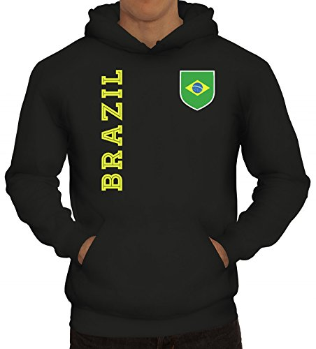 Brasil Brasilien Fußball WM Fanshirt Gruppen Herren Hoodie Männer Kapuzenpullover Fan Trikot Brazil, Größe: M,Schwarz