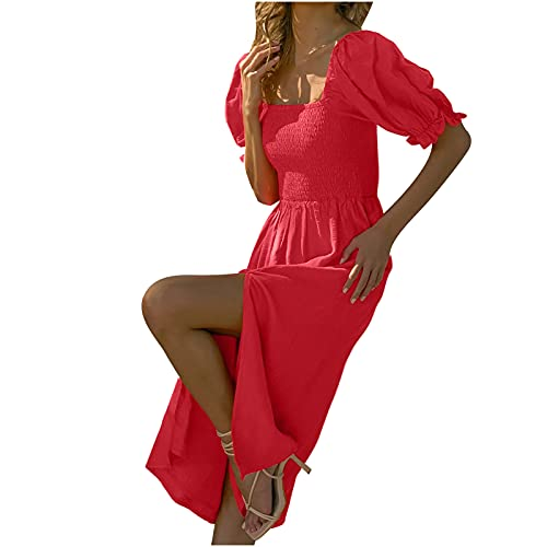 Casual Summer Dresses for Women Puff Sleeve Smocked Top Dress with Sleeves Elegant Flowy High Waist Dress Red