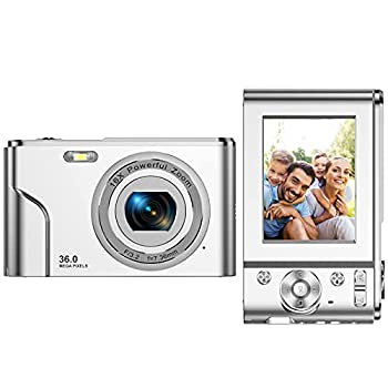 Digital Camera FHD 1080P Mini Video Camera 36MP Vlog Camera for YouTube 2.4 Inch IPS LCD Display Compact Pocket Camera with 16X Digital Zoom Anti-Shake Burst Shoot for Kids Students Teenager - Silver