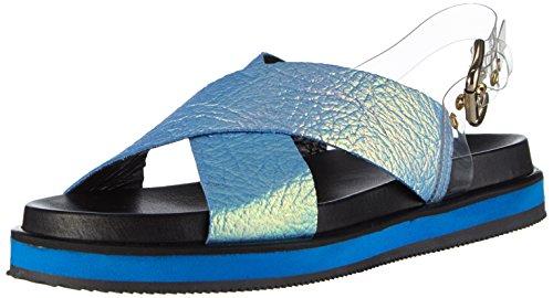 Pollini Damen SAN.LOD.MIC35BT/NE IRID.BLT/PVC TUR Offene Sandalen, Mehrfarbig (70A Bluette Iridescent DRUMMED Calf-Turquoise), 37