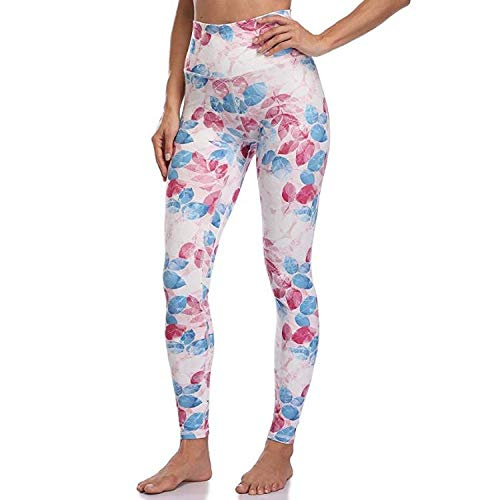 Eastbride Blickdicht Kompressions Yoga Fitnesshose Sporthose ,Bedruckte High-Stretch-Trainingshose mit hoher Taille und atmungsaktiver, bequemer Yogahose-Blue_XS,Workout Tights Hohe Taille