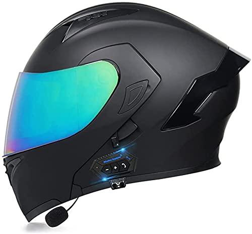 Motorcycle Helmets, DOT Approved Bluetooth Integrated Flip Up Modular Full Face Crash Helmet, Dual Sun Visor Off-Road Helmet for Men and Women Scooter 7,XL=61-62CM