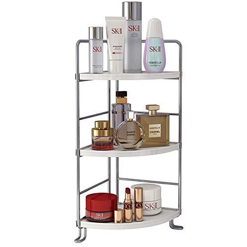 3-Tier Corner Spice Rack Kitchen Bathroom Countertop Organizer Vanity Tray Cosmetic Makeup Storage Standing Shelf, Silver