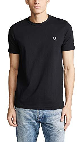 Fred Perry Herren Ringer T-Shirt, schwarz, Groß