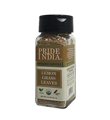 Pride Of India - Organic Lemongrass Fine Cut & Sifted - 0.8 oz (22.7 gm) Small Dual Sifter Jar - Certified Pure and Authentic Indian Herb