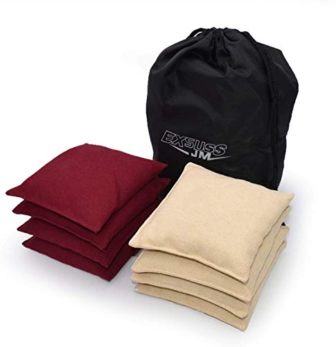 JMEXSUSS Weather Resistant Standard Corn Hole Bags, Set of 8 Regulation Cornhole Bags for Tossing Game (Burgundy/White)