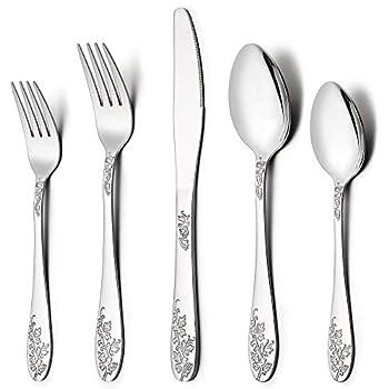 LIANYU 40-Piece Silverware Flatware Cutlery Set for 8 Stainless Steel Kitchen Restaurant Party Tableware Eating Utensil Sets Vine Pattern Mirror Finish Dishwasher Safe