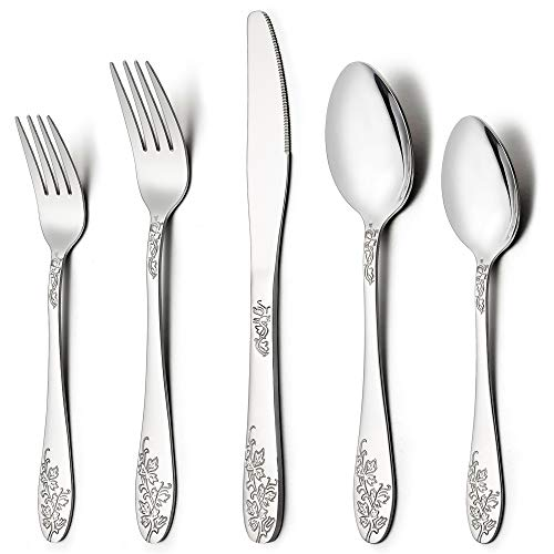 Silverware Set, 20-Piece Flatware Set, LIANYU Stainless Steel Cutlery Set for 4, Mirror Finished, Elegant Patterns, Dishwasher Safe