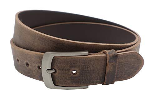 Nk Belt 4cm echter brauner Büffelleder Gürtel Handgemacht Leder 80cm-145 cm (100cm Gesamtlänge 110cm)