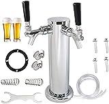 Dispensador de grifo de torre de cerveza, doble grifo de cerveza de 3 pulgadas y accesorios de montaje de torre de cerveza, apto para elaboración casera