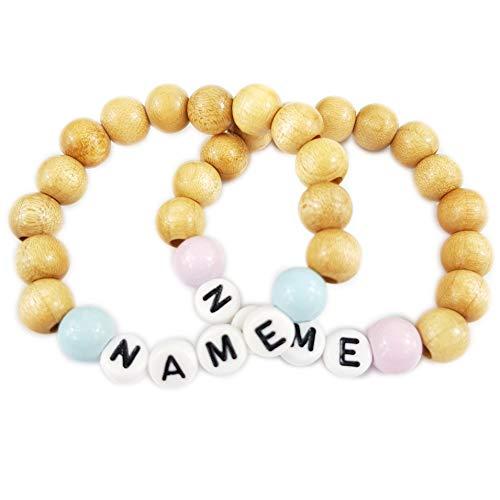 Babyarmband für Baby und Kind Naturfarben mit Namen Gravur | Namensarmband Taufarmband Geburtsarmband Baby Armband mit Namen Gravur