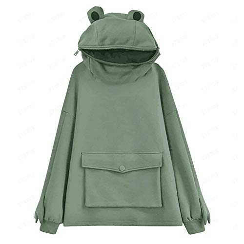 Women's/Girl's Cute Frog Hoodie Pullover Zipper Mouth Hooded Sweatshirt with Large Front Pocket Dark Green Large