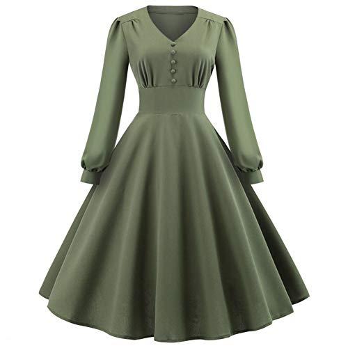 Art en wijze knoop midi-jurk vrouwen lange mouwen kantoor dames jurk casual V-aanzet tuniek kleding legergroen Vestido