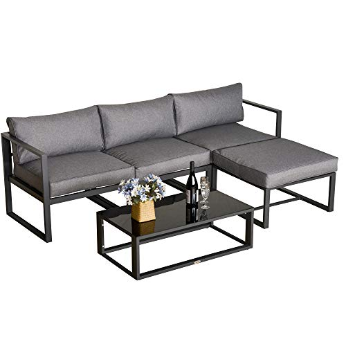 Outsunny 5 Pieces Outdoor Patio Furniture Set, Sofa Couch with Glass Coffee Table, Cushioned Chairs and Aluminum Tube, for Balcony Garden Backyard, Grey