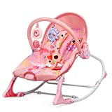 BABY JOY Baby Rocking Chair, Portable Infant Bouncer with Removable Toy Bar & 2 Cute Hanging Sound Toy, 3-Stage Adjustable Angle Comforting Rocking Chair with Fixed Buckle (Owl, Pink)