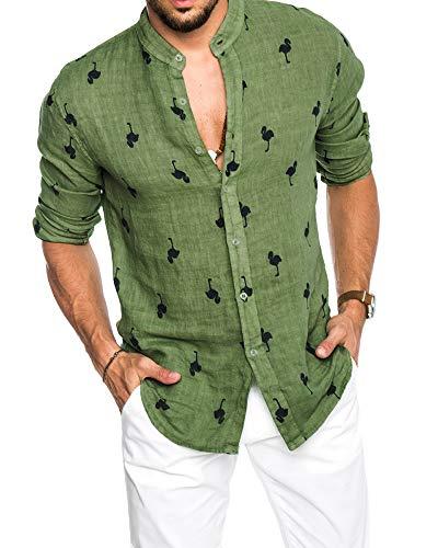 Pxmoda Herren Langarm Hawaiihemd mit Flamingo Stoffdruck Roll up Leinenhemd,  XXL Grün