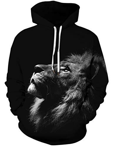 Goodstoworld 3D Pullover Mens Women Personalised Black Lion Printed Hoodies Sweatshirt Funny Top Adults XL