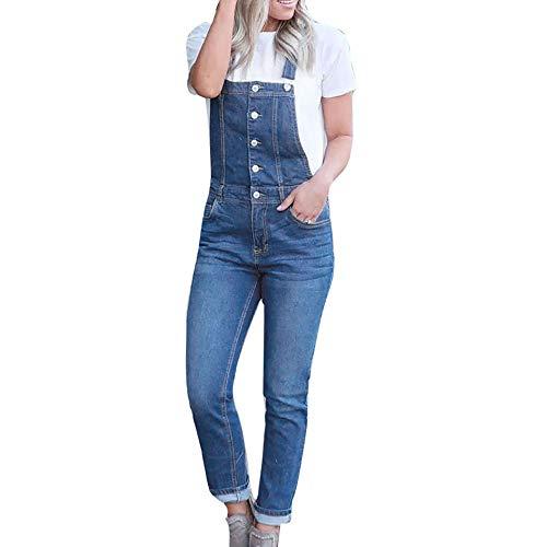 bobo4818 Jeans Damen Hose Latzhose Skinny Latzjeans Röhrenjeans Hüftjeans Low Waist Overall mit Träger Overall Jumpsuit Trägerhose Hoseanzug (M, Blue-2)
