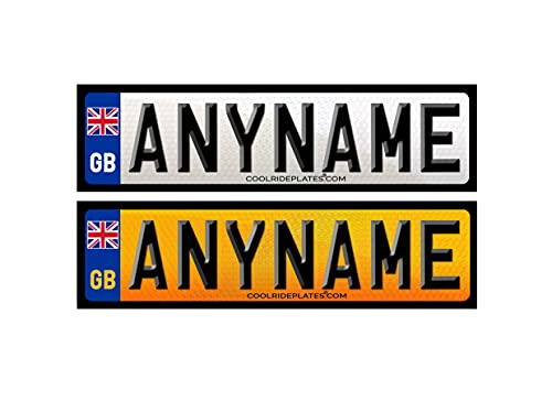 Coolrideplates 15 x 4 cm Personalised Number Plate Waterproof Vinyl Self-Adhesive Stickers (Front and Rear) For Ride-on Cars, Bikes, Mobility Scooters, Bedroom Doors Etc