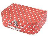 Bieco Kinderkoffer mit Punkten in Rot   Koffer aus Pappe, Metallgriffe   Köfferchen für Kinder, Reisekoffer Kinder   Gutschein Verpackung   Reise-Spielekoffer