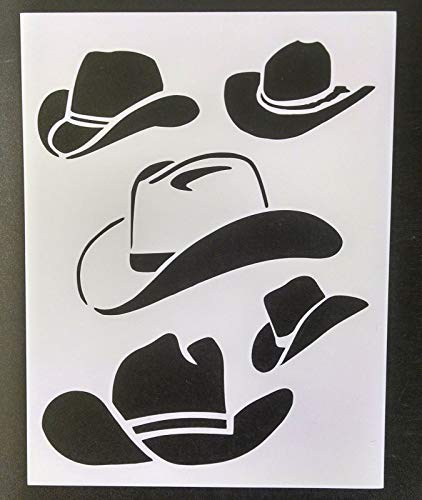 Reusable Sturdy Stencil Cowboy Hats Hat Western Country 8.5' x 11' Cut Stencil Sheet (not Paper) Arts and Crafts Material Scrapbooking for Airbrush Painting Drawing
