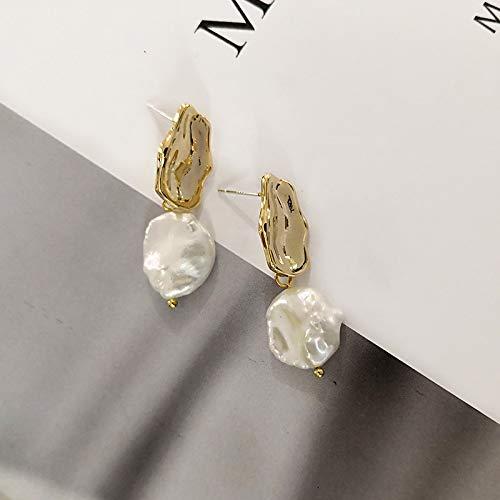 SALAN Pendientes Largos Planos Grandes De Perlas De Agua Dulce para Mujer Pendientes De Perlas Barrocas Blancas De Metal Dorado Joyas