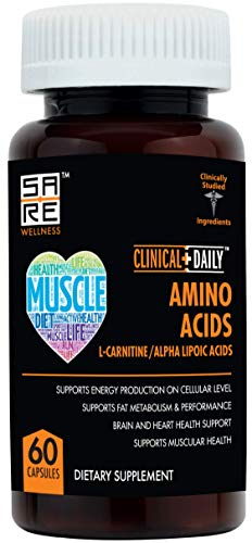 Acetyl L Carnitine - Alpha Lipoic Essential Amino Acids Supplements Capsules for Women, Men or Elderly. ALCAR ALA Complex Helps Boost Metabolism, Brain, Heart, and Muscular Health. 60 Capsule Pills