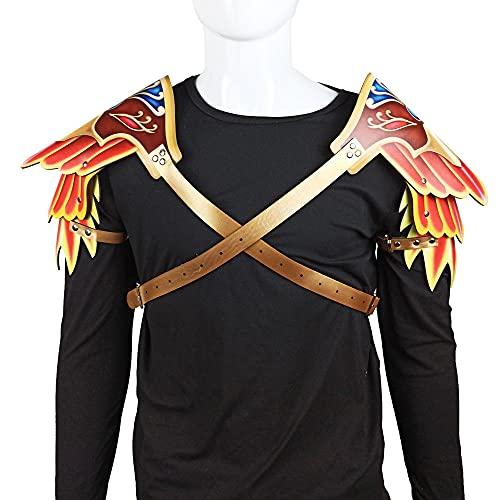 WEMAO Accesorios de disfraces de Cosplay de Halloween Carnaval Mascarada Cuervo Armadura de hombro de cuero Par femenino-A_29 * 34cm