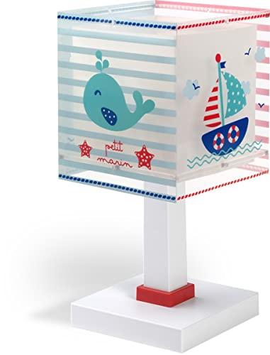 Dalber Lámpara Mesita Infantil Marinero Barco Petit Marin, 40 W, Azul, 13.5 x 13.5 x 29 cm