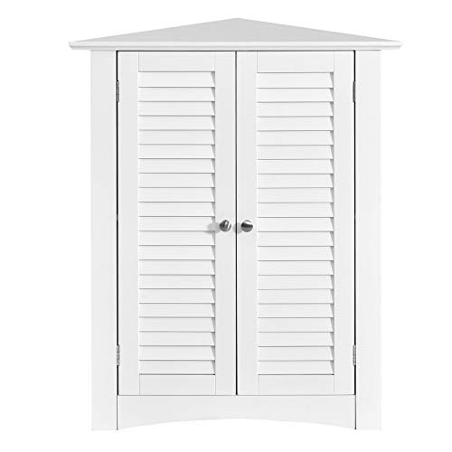 GLACER 3-Shelf Corner Cabinet, Freestanding Bathroom Floor Cabinet with Double Shutter Doors and Adjustable Shelf, Suitable for Bathroom, Living Room, Bedroom, Kitchen, 22 x 13 x 31.5 inches (White)