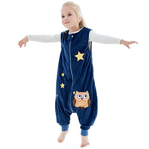 MICHLEY Baby Schlafsack mit Füßen, mädchen und Junge Schlafstrampler Vierjahreszeiten,Blau 1-3 Jahre