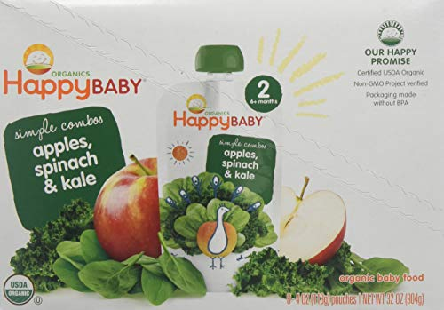 HappyBaby Organics Organic Baby Food Simple Combos 2 Spinach, Apples & Kale