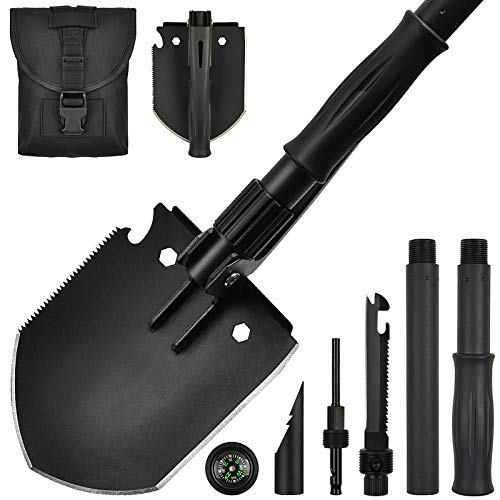 Yeacool Military Shovel Camping Shovel Heavy Duty Tactical Folding Spade Compact Pickaxe Multitool with Molle Bag Entrenching Tool for Camping Digging Metal Detecting