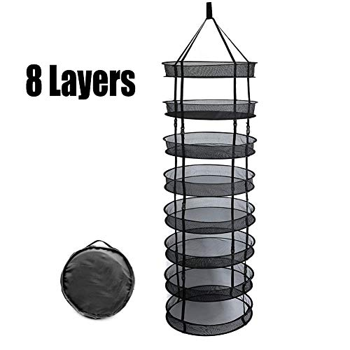 ZLRE 8 Layer Herb Drying Rack Net, Hanging Hydroponics Grow Tent plant flowers and herbs drying rack, Adjustable Sizes 2/4/6/8 Layers,Black