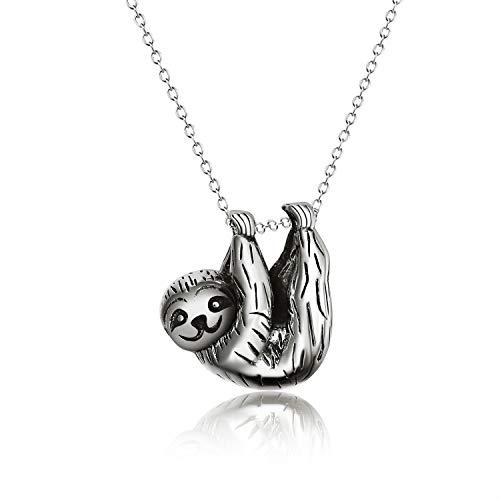 Sterling Silber Faultier Anhänger Halskette inspiriert Tier Schmuck für Frauen Mädchen (Oxidierter Jahrgang)