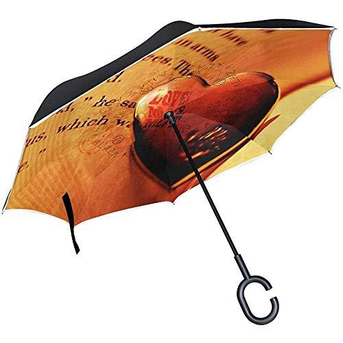 Omgekeerde paraplu liefde boek behang omgekeerde paraplu omkeerbaar voor golf auto reizen regen outdoor zwart