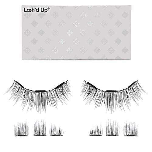 Lash'd Up Magnetic Eyelashes Without Eyeliner 3 Magnets (Can also be worn as Dual Magnets) Full Eye Snap-on Set Soft Faux Silk Vegan (Natural Lengthening)