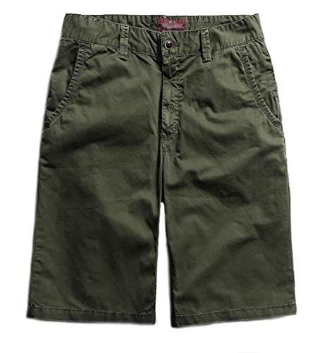 Herren Cuba Chino Shorts Kurze Hose Regular Fit Bermudas Sommershorts Herrenshorts Mode Short Men Casual Pants Chinohose Für Männer (Grün,31)