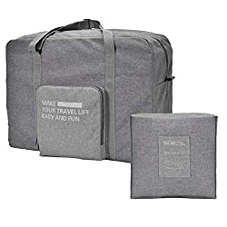 SoloTravel Lightweight Foldable Waterproof Nylon Duffel Travel/Gym/Luggage Organizer Handy Carry Bag with Zipper for Men and Women (Grey Color),MERAYO EGRAB,MSH0015F