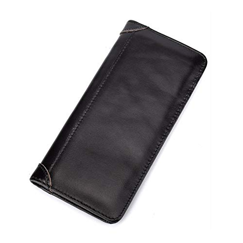 Dr.Sprayer Outdoor Airbed Knapsack Men's First Leather Wallet Retro Wax Leather Leather Wallet Coin Multi-slot Wallet 10 * 19 * 2CM (Color : Black)