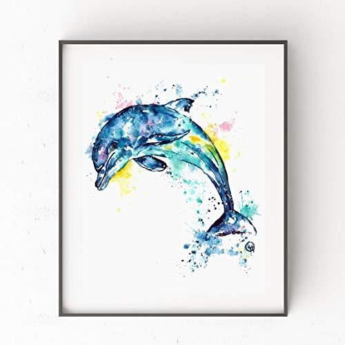 DIY Pintar por números delfín Kit de Pintura al óleo guiada Mediante números, para niños y Adultos Principiantes