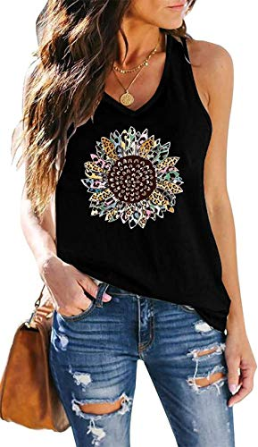 ETCYY NEW Tank Tops for Women, Cute Sleeveless V Neck Workout Tops Printed Running Casual Athletic T Shirts