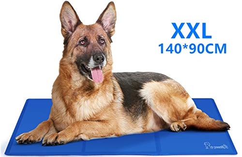 Pecute Kühlmatte Hunde Katzen Kuhlmatte Für Hunde und Katzen Kühlkissen Kühl Hundedecke Kaltgelpad für Katzen und Hunde Selbstkühlende Matte Blau XL (140 * 90 cm)