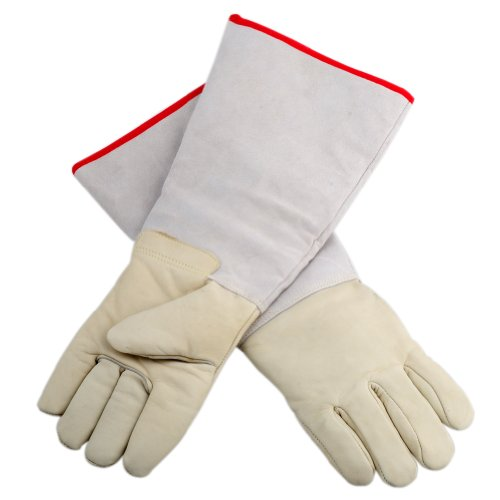 "OFTEN Ultra Long Cryogenic Gloves Waterproof Protective Gloves Liquid Nitrogen Frozen Gloves Cold Storage,White,17.72"""
