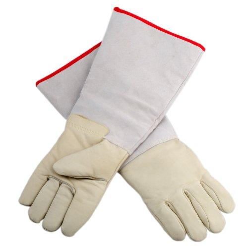 OFTEN Ultra Long Cryogenic Gloves Waterproof Protective Gloves Liquid Nitrogen Frozen Gloves Cold Storage,White,17.72
